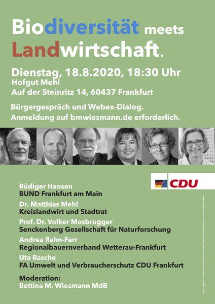 Plakat zum Podium: Biodiversität meets Landwirtschaft.