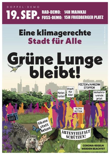 Einladung zur Doppeldemo: Eine klimagerechte Stadt  für Alle. Grüne Lunge bleibt!