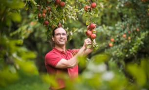 Bio- Obstbauer Andreas Schneider inmitten seiner Streuobstwiesen. Er hat ein Gespür für neue und alte Apfelsorten sowie sortenreine Apfelweine.